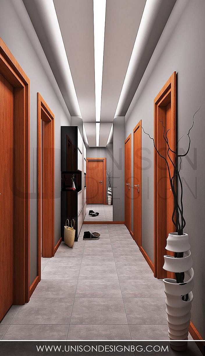 Антре-коридор-визуализация-интериорен-дизайн-сиво-бяло-черно-antre-koridor-unison-design