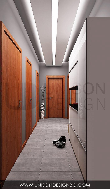 Антре-коридор-визуализация-интериорен-дизайн-сиво-бяло-черно-antre-koridor-unison-design-interioren-dizajner-sofiq