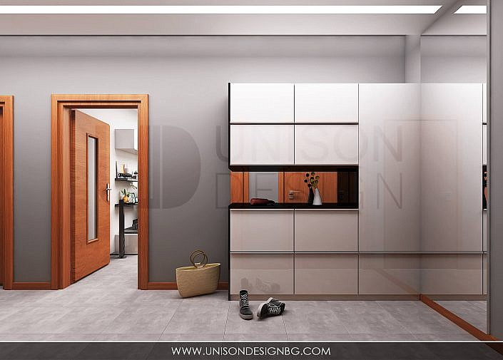 Антре-коридор-визуализация-интериорен-проект-сиво-бяло-черно-antre-koridor-unison-design