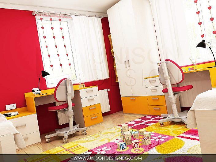Детска-стая-за-момичета-жълто-малиново-обзавеждане-детско-obzavejdane-интериорен-дизайн-визуализация-detskko-mebeli-porachka-interioren-dizajner-unison-design