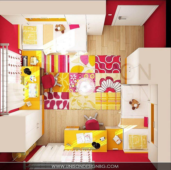Детска-стая-за-момичета-малинова-жълта-интериорен-дизайн-проект-визуализация-detska-staq-interioren-dizain
