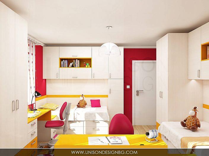 Детска-стая-момичета-жълто-малиново-мебели-детско-obzavejdane-интериорен-дизайн-визуализация-detskko-obzavejdane-mebeli-porachka-unison-design