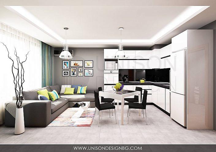 Дневна-Кухня-трапезария-визуализация-интериорен-дизайн-сиво-бяло-черно-dnevna-trapezariq