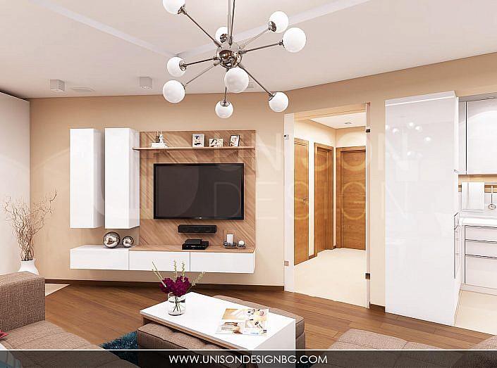 интериор-дневна-цени-тв-модул-секция-дърво-бяло-холна-маса-проект-мебели-unison-design