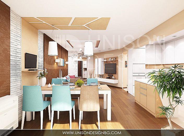 Модерна-дневна-кухня-трапезария-декоративни-камъни-окачен-таван-проект-trapezariq-okachen-tavan-dekorativni-kamani
