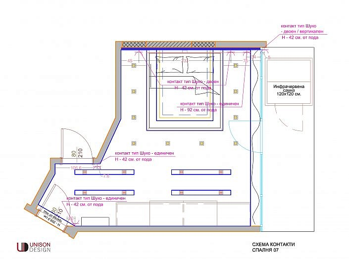 Проектиране-схема-контакти-спалня-shema-kontakti-spalnq-unison-design
