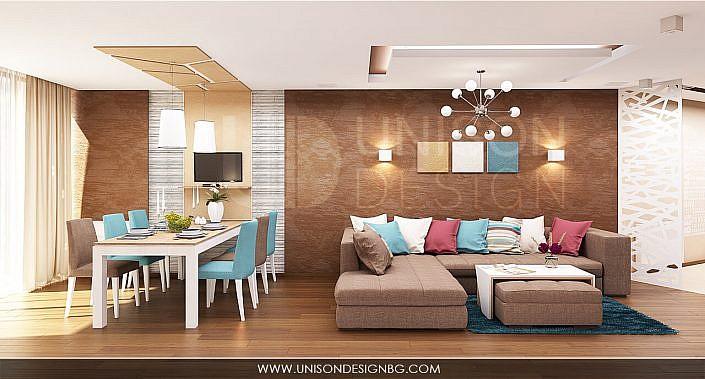 модерен-апартамент-дневна-трапезария-интериорен-проект-визуализация-кафяв-тюркоазено-бяло