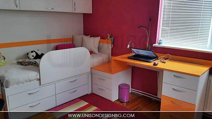 реализация-детска-стая-момичета-интериорен-дизайн-малиножа-оранжева-detska-staq-remont-proektirane-unison-design