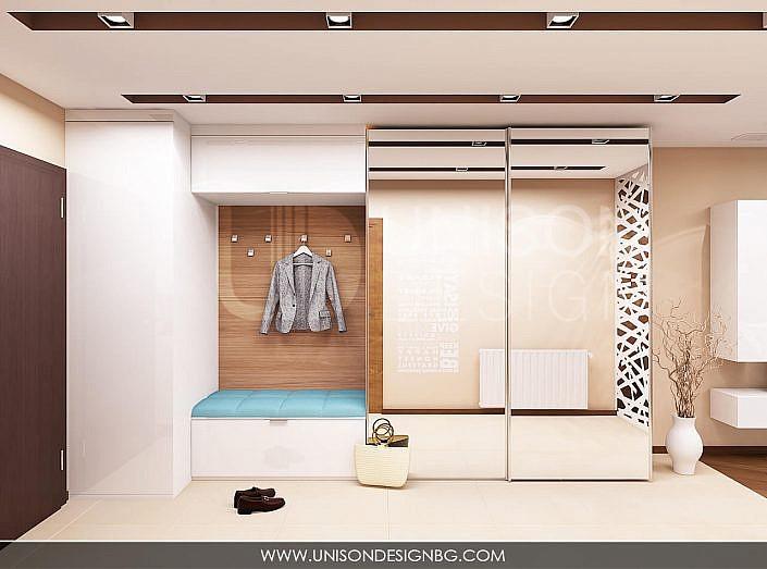 интериор-antre-антре-коридор-koridor-проект-гардероб-бяло-дърво-синьо-proekt-bqlo-sinio-darvo