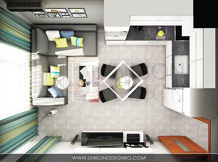 Dnevna-дневна-трапазария-визуализация-план-мебели-interioren-dizajn-unison-dizajn-софия