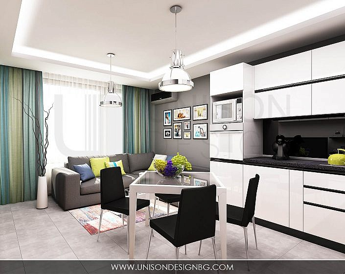 dnevna-дневна-кухня-визуализация-интериорен-дизайн-черно-бяла-кухня-интериорен-дизайн-unison-design