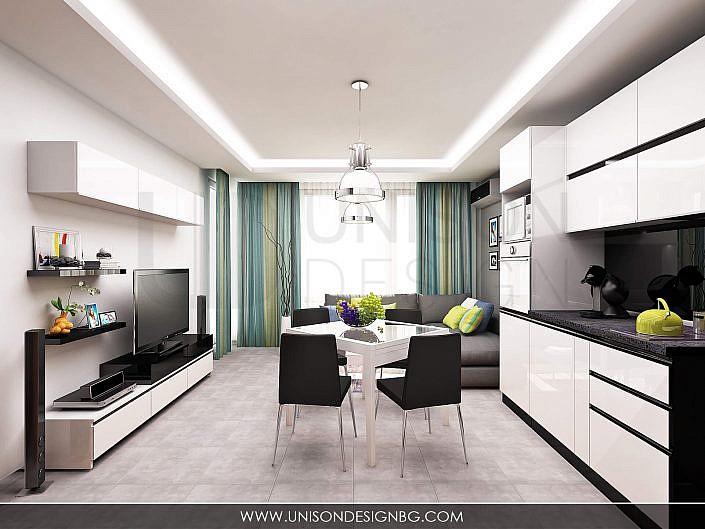 dnevna-дневна-кухня-визуализация-интериорен-дизайн-черно-бял-интериорен-дизайн-apartament-апартамент