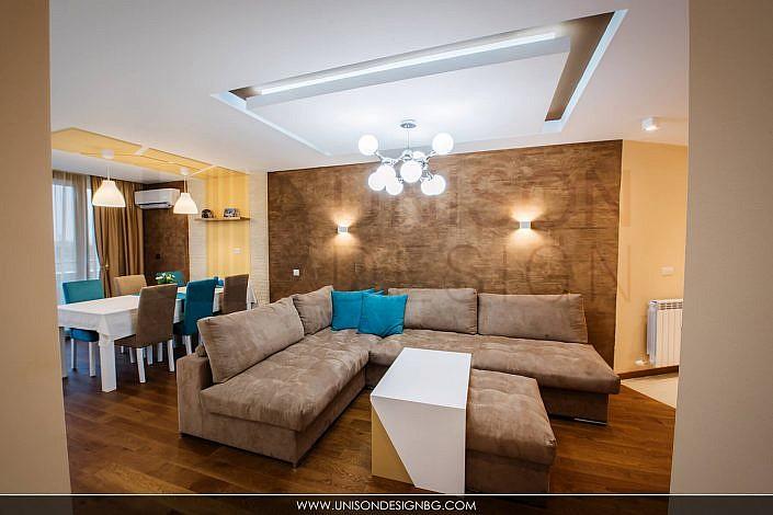 Дневна-интериорен-дизайн-реализация-обзавеждане-окачен-таван-диван-dnevna-obzavejdane-interioren-dizajn-unison-design