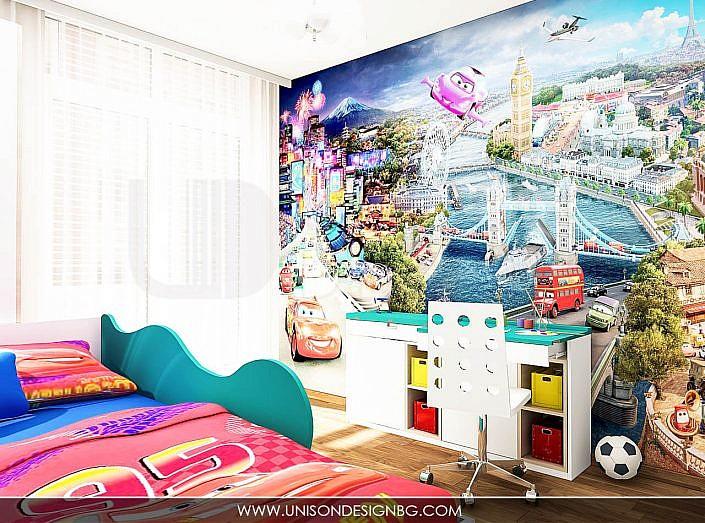 Детска-стая-за-момчета-стая-фототапет-легло-коли-бюро-мебели-интериор-дизайн-detska-staq-unison-design