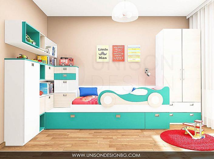 Детска-стая-синя-бяла-момчета-легло-с-коли-мебели-интериорен-дизайн-detska-staq-momcheta-leglo-s-koli-unison-design