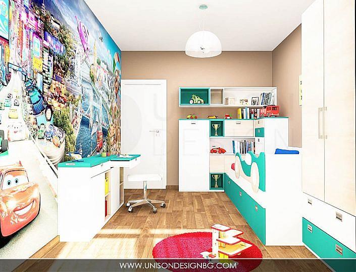 Детска-стая-фототапет-момчета-легло-с-коли-мебели-интериорен-дизайн-detska-staq-momcheta-mebeli-po-porachka-unison-design