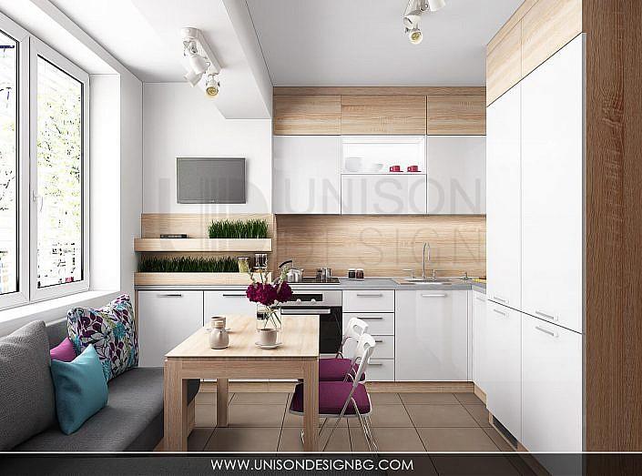 Кухня-бяла-дърво-лилава-интериорен-дизайнер-реализация-дизайн-обзавеждане-kuhnqa-bqla-kafqva-lilava-interioren-dizajn-unison-design-софия-3D-визуализация-1