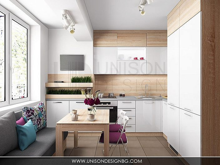 Реализация на апартамент с тюркоазени акценти