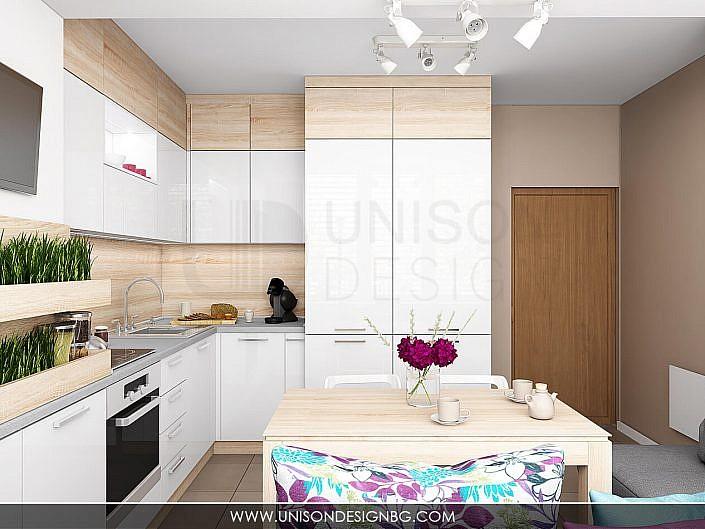Кухня-бяла-дърво-лилава-интериорен-дизайнер-реализация-дизайн-обзавеждане-kuhnqa-bqla-kafqva-lilava-interioren-dizajn-unison-design-софия-3D-визуализация-3
