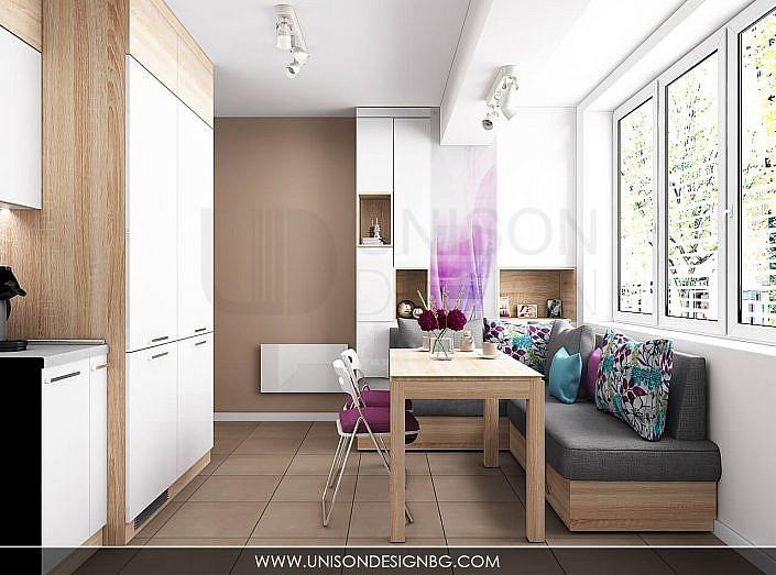 Кухня-бяла-дърво-лилава-интериорен-дизайнер-реализация-дизайн-обзавеждане-kuhnqa-bqla-kafqva-lilava-interioren-dizajn-unison-design-софия-3D-визуализация-4