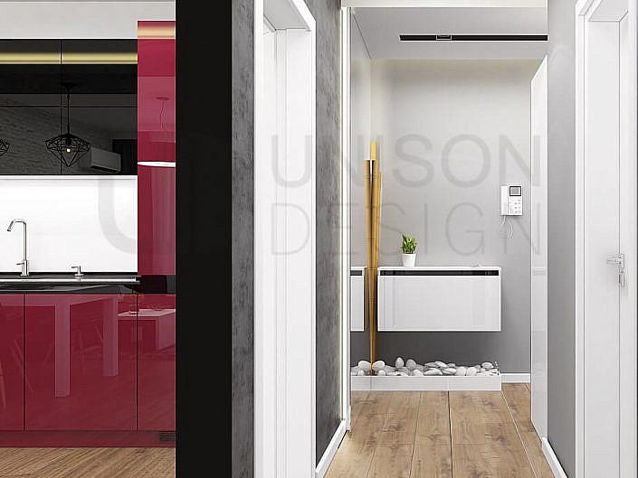 Интериорен-дизайн-червено-бяло-черно-дневна-апартамент-кухня-интериорен-дизайнер-Ралица-Запрянова-Unison-Design