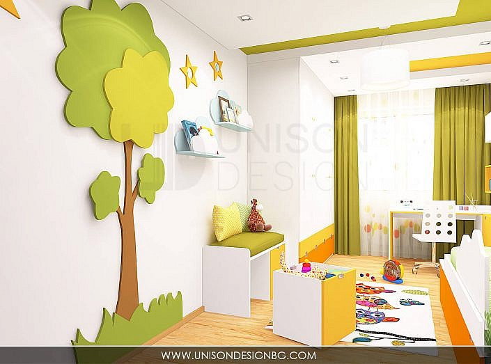 Интериорен-дизайн-детска-стая-зелено-жълто-детска-стая-за-момиче-момче-детска-стая-за-две-деца-Unison-Design-14