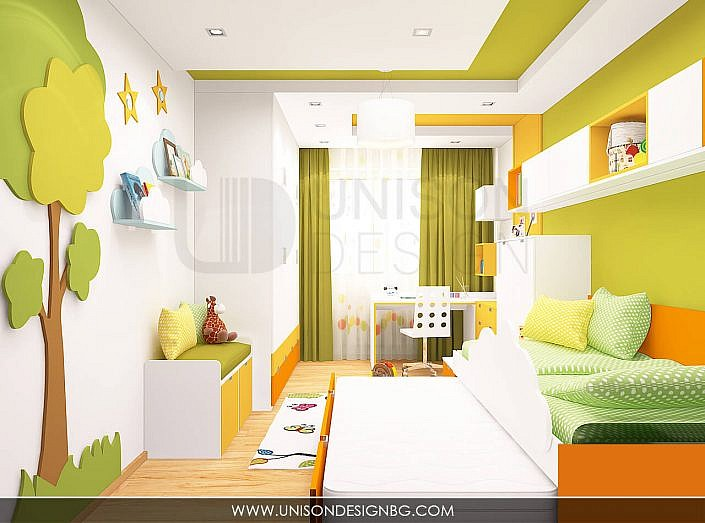 Интериорен-дизайн-детска-стая-зелено-жълто-детска-стая-за-момиче-момче-легло-два-етажа-3D-визуализация-Unison-Design-2
