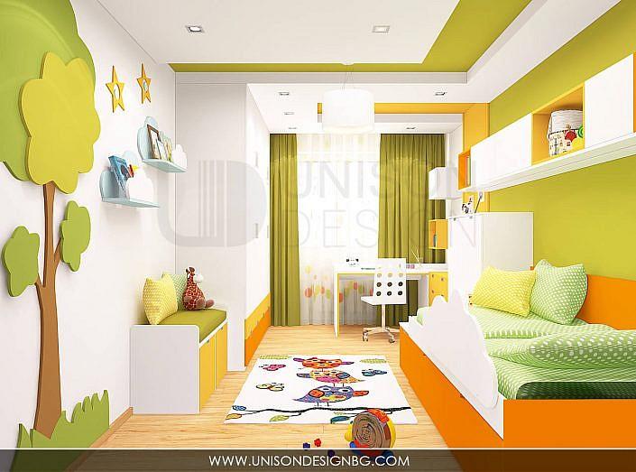 Интериорен-дизайн-детска-стая-зелено-жълто-детска-стая-за-момиче-момче-легло-два-етажа-3D-визуализация-Unison-Design-1