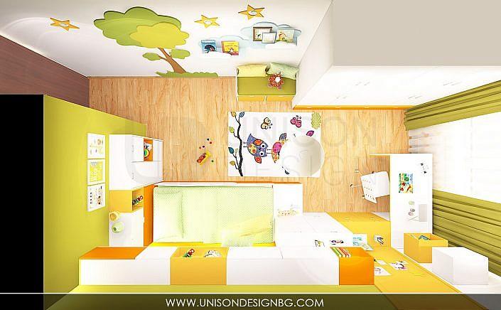 Интериорен-дизайн-детска-стая-зелено-жълто-детска-стая-за-момиче-момче-детска-стая-за-две-деца-Unison-Design-12