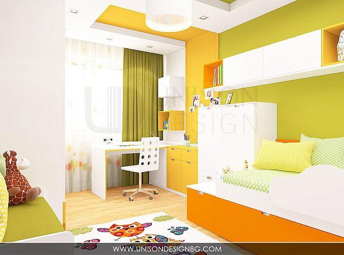 Интериорен-дизайн-детска-стая-зелено-жълто-детска-стая-за-момиче-момче-легло-два-етажа-3D-визуализация-Unison-Design-3