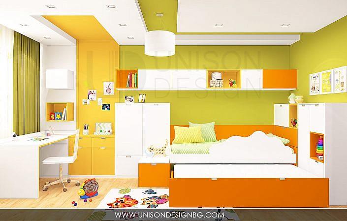 Интериорен-дизайн-детска-стая-зелено-жълто-детска-стая-за-момиче-момче-декорация-стена-3D-визуализация-Unison-Design-5