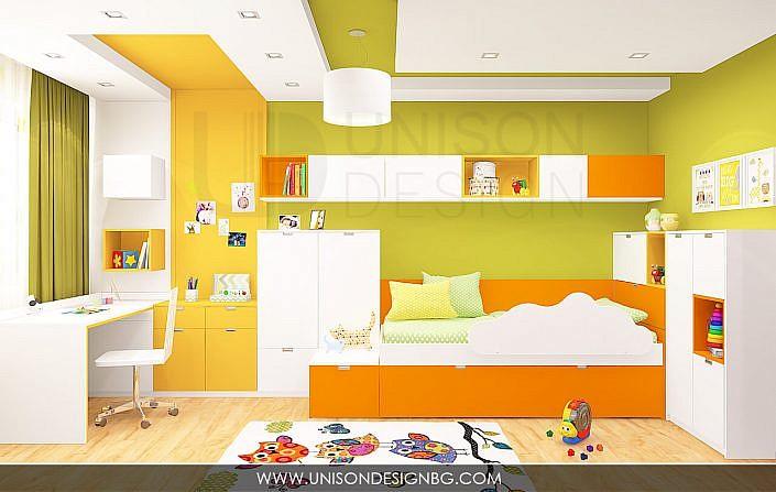 Интериорен-дизайн-детска-стая-зелено-жълто-детска-стая-за-момиче-момче-декорация-3D-визуализация-Unison-Design-4