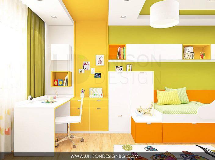 Интериорен-дизайн-детска-стая-зелено-жълто-детска-стая-за-момиче-момче-бюро-3D-визуализация-Unison-Design-6