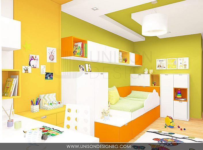 Интериорен-дизайн-детска-стая-зелено-жълто-детска-стая-за-момиче-момче-две-легла-Unison-Design-7