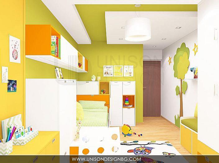 Интериорен-дизайн-детска-стая-зелено-жълто-детска-стая-за-момиче-момче-декорация-стена-3D-визуализация-Unison-Design-8