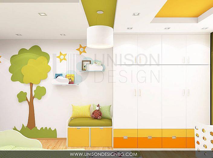 Интериорен-дизайн-детска-стая-зелено-жълто-детска-стая-за-момиче-момче-декорация-детска-3D-визуализация-Unison-Design-9