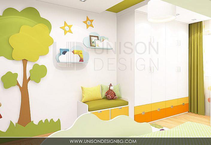 Интериорен-дизайн-детска-стая-зелено-жълто-детска-стая-за-момиче-момче-детска-за-две-деца-3D-визуализация-Unison-Design-10