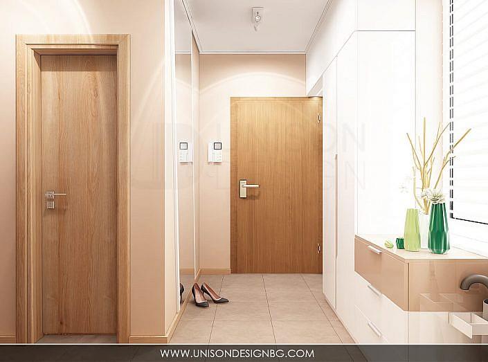 Интериорен-дизайн-Antre-антре-коридор-koridor-проект-гардероб-бяло-кафяво-proekt-bqlo-kafqvo-визуализация-unison-design-1