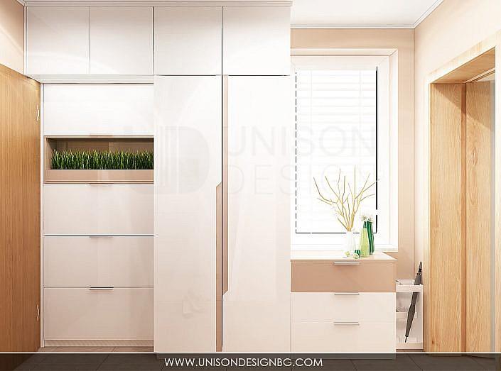 Интериорен-дизайн-Antre-антре-коридор-koridor-проект-гардероб-бяло-кафяво-proekt-bqlo-kafqvo-визуализация-unison-design-2