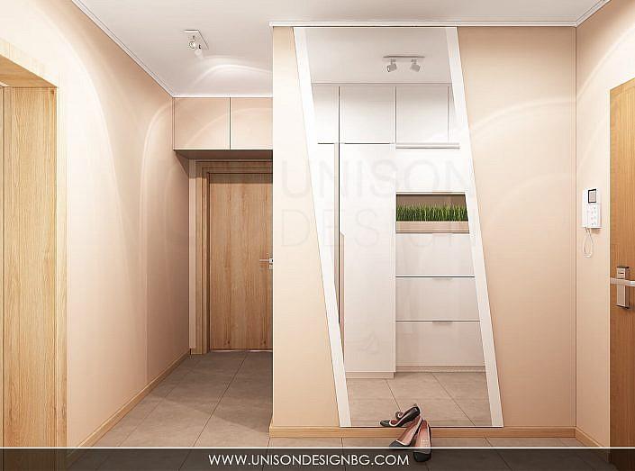 Интериорен-дизайн-Antre-антре-коридор-koridor-проект-огледало-бяло-кафяво-proekt-bqlo-kafqvo-визуализация-unison-design-3