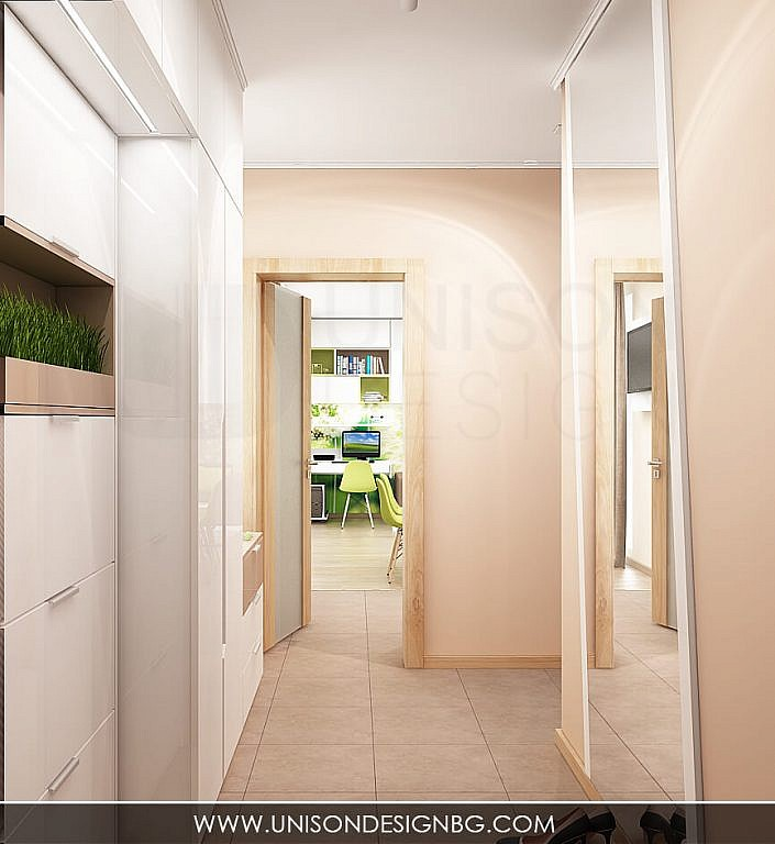 Интериорен-дизайн-Antre-антре-коридор-koridor-проект-огледало-гардероб-бяло-кафяво-proekt-bqlo-kafqvo-визуализация-unison-design-3