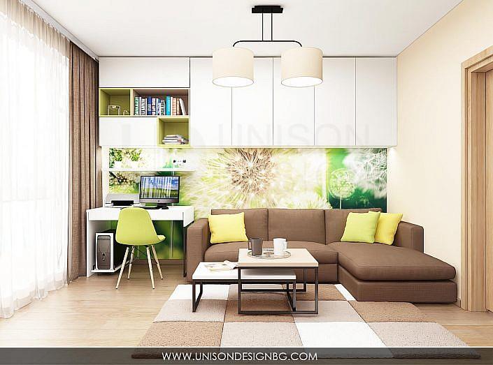 -интериорен-дизайн-на-дневна-хол-всекидневна-зелено-кафяво-бяло-бюро-interioren-dizajn-unison-design-3D-визуализация-1