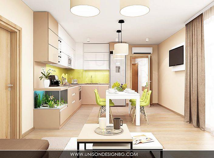 -интериорен-дизайн-на-кухня-дневна-хол-всекидневна-зелено-кафяво-бяло-interioren-dizajn-kuhnq-hol-vsekidnevna-unison-design-3D-визуализация-6