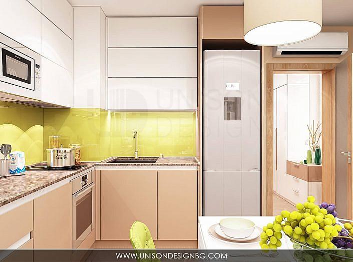 -интериорен-дизайн-на-кухня-трапезария-дневна-зелено-кафяво-бяло-уютен-дом-аквариум-interioren-dizain-kuhnq-unison-design-3D-визуализация-7