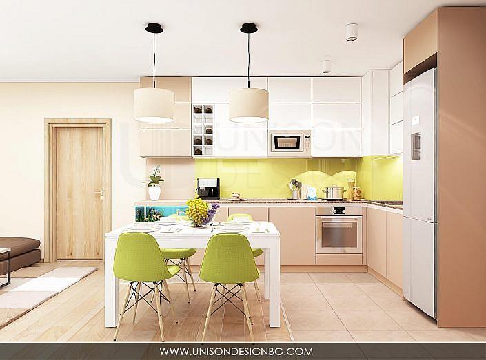 -интериорен-дизайн-на-кухня-трапезария-дневна-зелено-кафяво-бяло-уютен-дом-аквариум-interioren-dizajn-kuhnq-unison-design-3D-визуализация-5