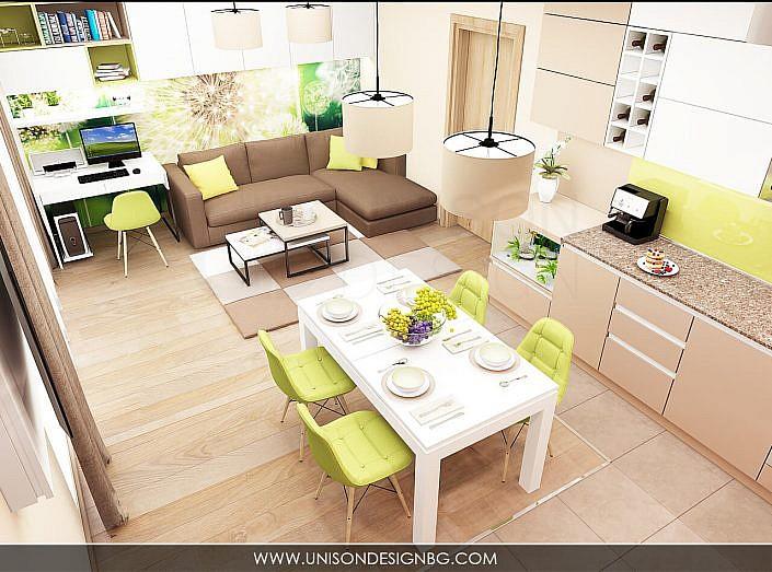 -интериорен-дизайн-на-кухня-трапезария-дневна-зелено-кафяво-бяло-уютен-дом-бюро-работен-кът-interioren-dizajn-kuhnq-unison-design-3D-визуализация-4