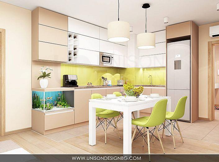 -интериорен-дизайн-на-кухня-трапезария-дневна-зелено-кафяво-бяло-уютен-дом-interioren-dizajn-kuhnqunison-design-3D-визуализация-3