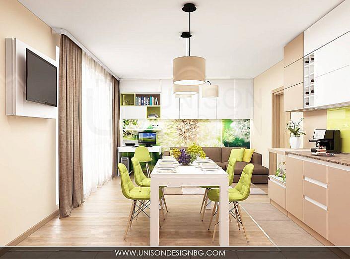 -интериорен-дизайн-на-кухня-трапезария-дневна-хол-всекидневна-зелено-кафяво-бяло--interioren-dizajn-unison-design-3D-визуализация-2
