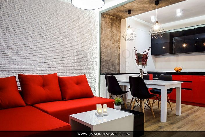 Дневна-черно-бяло-червено-интериорен-дизайн-диван-реализация-хол-кухня-hol-dnevna-interioren-dizajn-unison-design_1