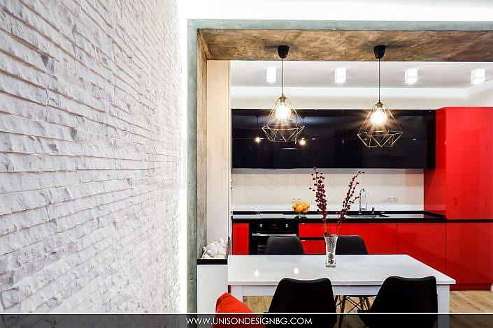 Дневна-черно-бяло-черно-декаративни-камъни-стена-интериорен-дизайн-диван-реализация-хол-кухня-hol-dnevna-interioren-dizajn-unison-design_2